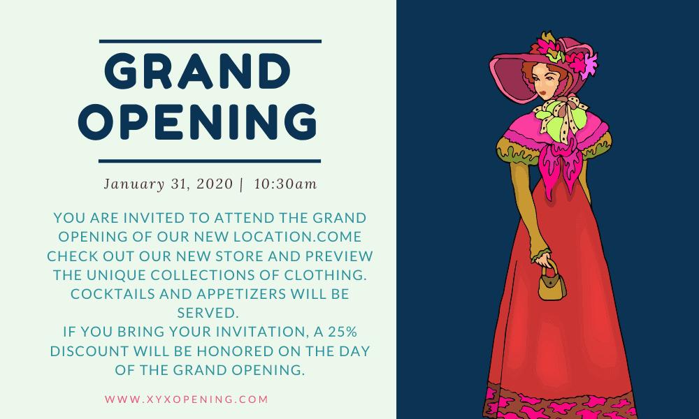 boutique shop grand opening invitation sample