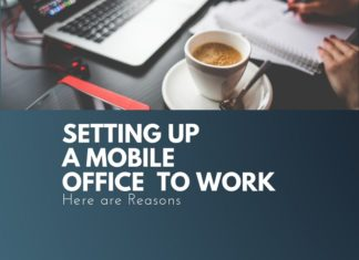 setting up mobile office for work