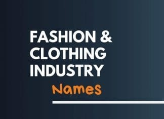 Fashion Clothing Industry Names