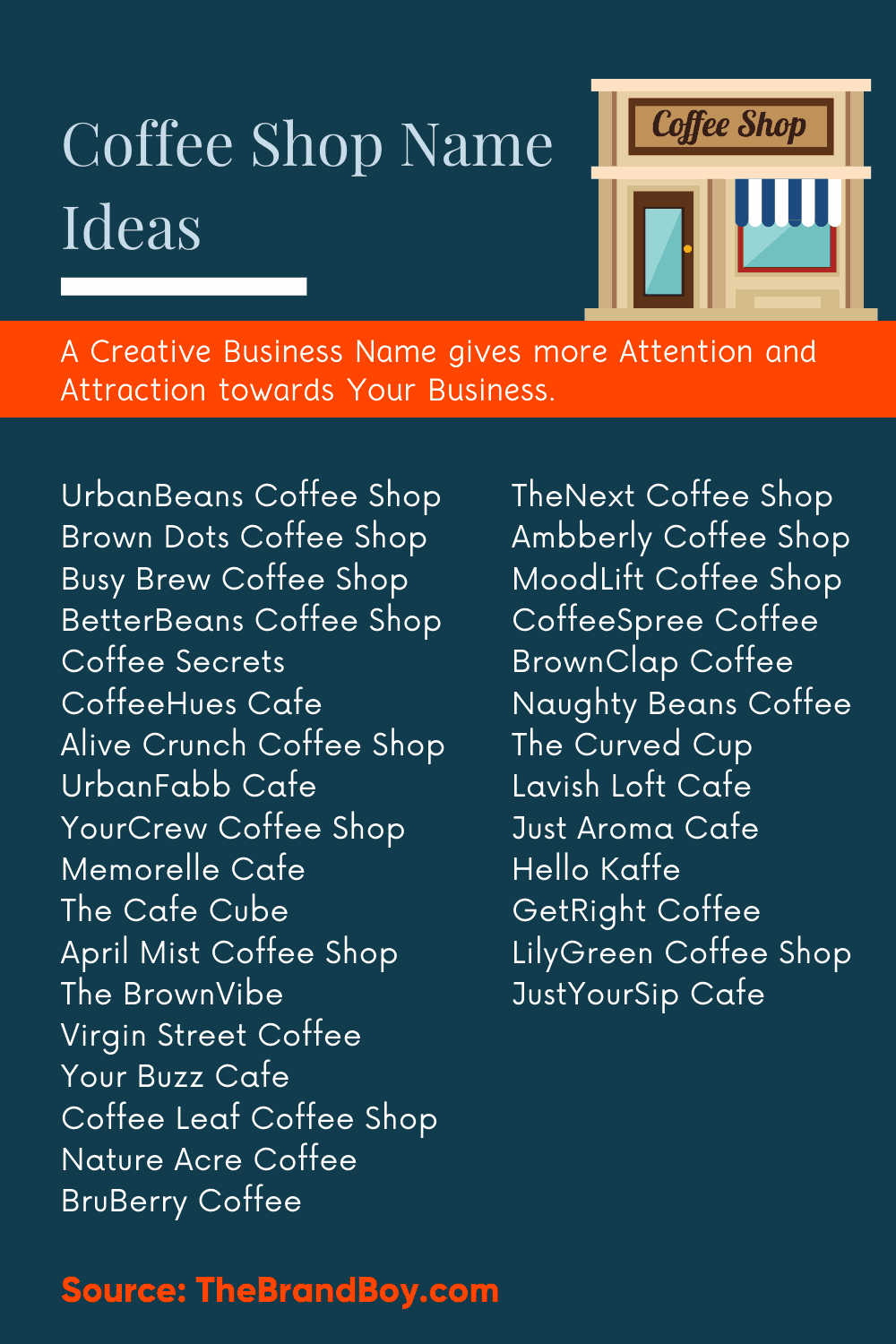 485 Great Coffee Shop Names Video Infographic