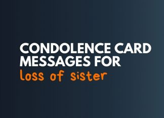 Condolence card Messages for Loss of Sister