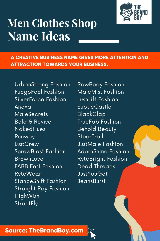 465 Creative Men Clothes Shop Names Ideas Video Infographic