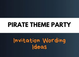 Pirates Theme Party Invitation Wording