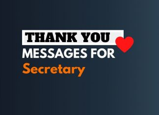Thank you Messages for Secretary