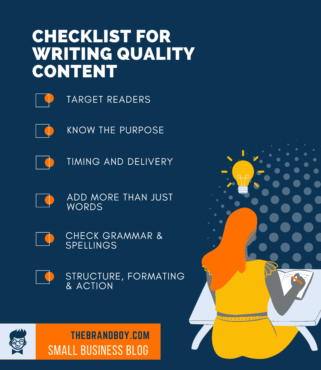 checklist for writing quality content